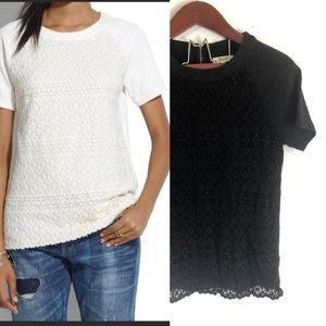Madewell lace Crochet Blouse Black Top S